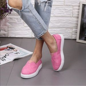 Pink canvas slip on loafers